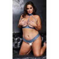Open Halterneck Bra & Crotchless G-String - Queen Size - Blue-VIP